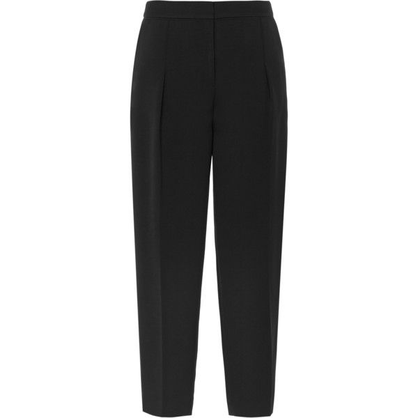 Reiss Gillian Pleated Cropped Trousers (560 ILS) ❤ liked on Polyvore featuring pants, capris, bottoms, trousers, black, pocket pants, black pleated pants, black crop pants, cropped pants and cropped trousers
