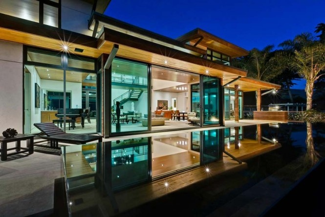 Architecture, Modern Contemporary House Design with Expanse Glass: Paved Walkway With Wooden Gates