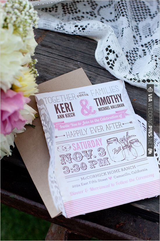 super cute pink and brown wedding invites by Cadence Paige   VIA #WEDDINGPINS.NET