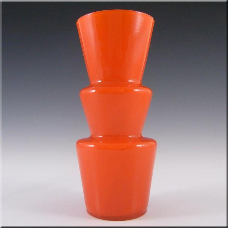 Lindshammar 1970's Swedish Orange Hooped Glass Vase - £69.99