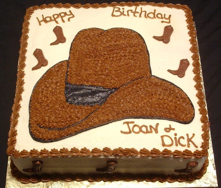 Flat cowboy cake with hat