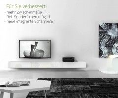 Design Lowboard Konfigurator 120 150 180 210 240 270 300 cm Hängend Fernseher TV Möbel Hifi Weiß Schwarz Matt Hochglanz Box Italien