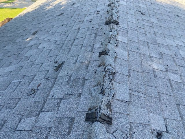 Prematurely Failed Ridge Cap A Lot Of Roofers Will Sell You A New Roof When All You Need Is Some New Ridge Cap We Can Also Insta Roof Repair Roofer Ridge