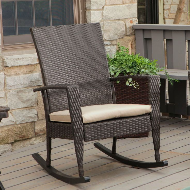 C Coast Soho High Back Wicker Rocking Chair With Free Cushion Outdoor Chairs At Hayneedle