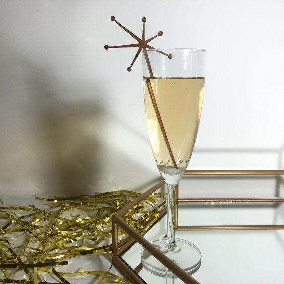 Mid Century Starburst Drink Stirrers  Set of 6 by CaliforniaLustre