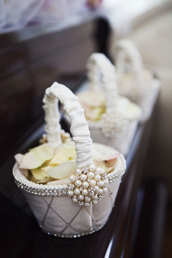 Pearl and Satin Flower Girl Baskets