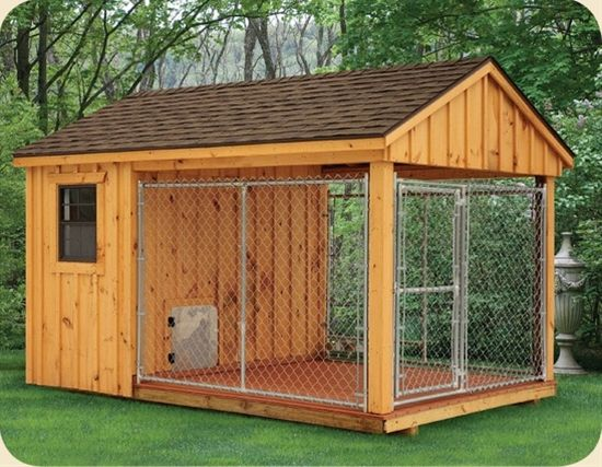 Wish all dogs were protected in a kennel like this if owner must leave them out for periods of time.  8 x 12 Dog Kennel - Click image to find more animals Pinterest pins