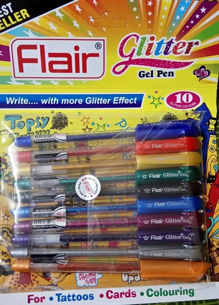 NEW FLAIR XTRA SPARKLE GLITTER GEL 10 COLOR PEN SET for tattoo