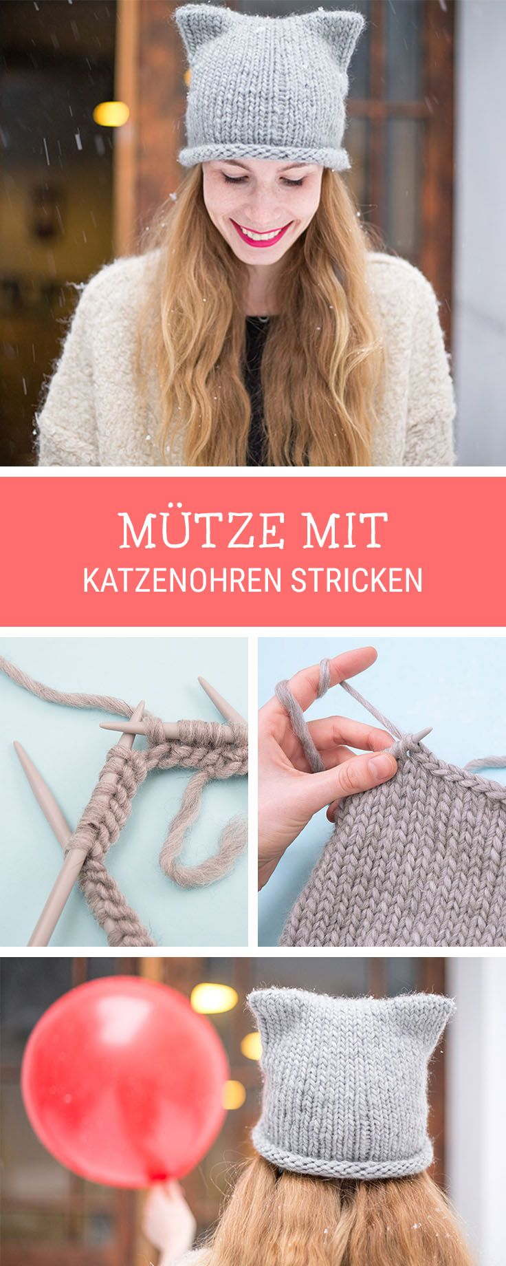 Strickanleitung: Süße Katzenmütze mit Ohren stricken / knitting inspiration for a knitted beanie with cat ears via DaWanda.com