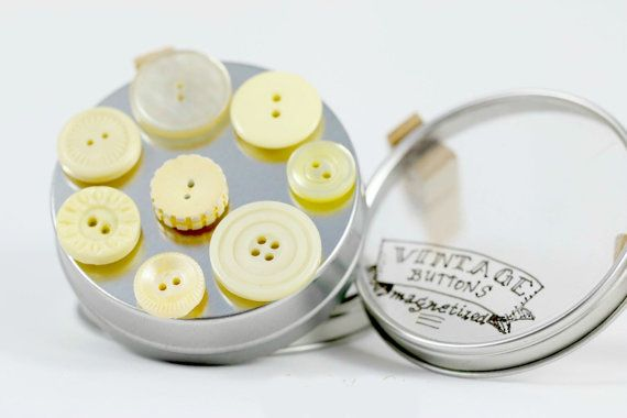 Pastel yellow button magnet set, Unusual gifts for women, Retro kitchen magnets for sale, House warming gift ideas, Great housewarming gifts ~ Only at http://www.brickandbutton.etsy.com
