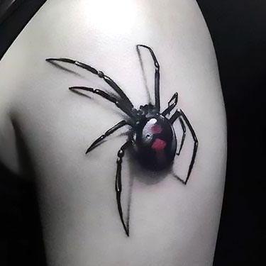 Black 3d Spider Tattoo Idea