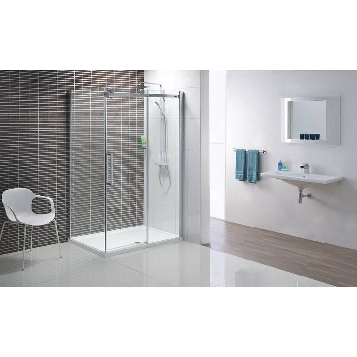 Victoria plumb frameless sliding door shower bathroom for Bathroom cabinets victoria plumb