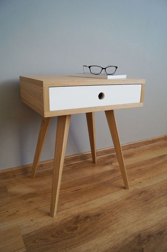 Nightstand scandinavian style with one drawer by PracowniaEMBE