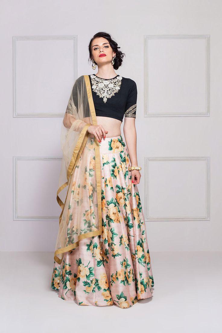 Sonali gupta - Black & peach floral lehenga set with dabka embroidery