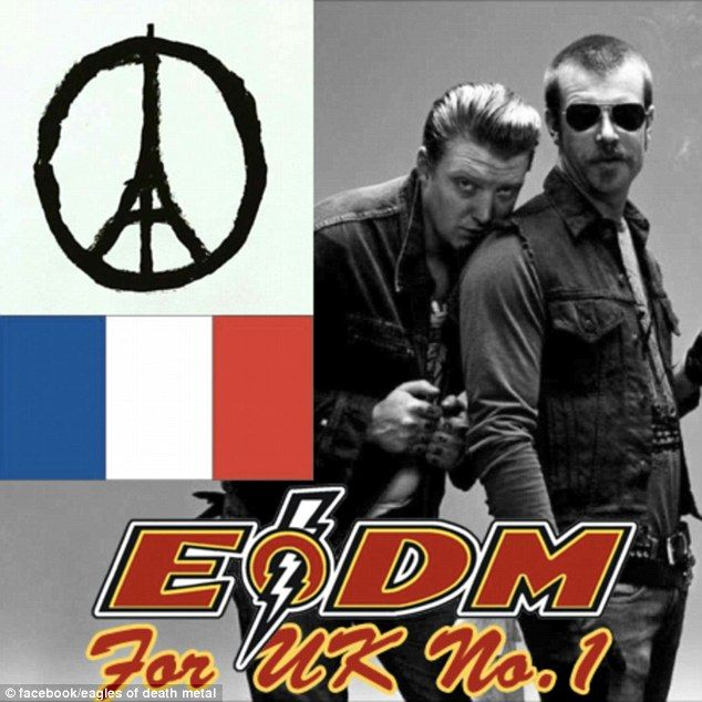 Fan support: Eagles of Death Metal's song is rising through the charts due to a campaign to get it to Number One, in solidarity with those affected by the Paris attacks