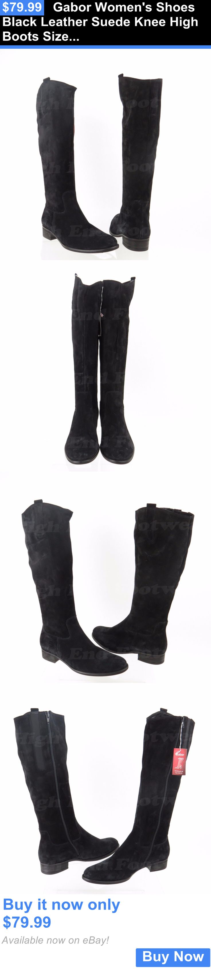 Women Boots: Gabor Womens Shoes Black Leather Suede Knee High Boots Size Uk 6.5, Us 9 M New BUY IT NOW ONLY: $79.99