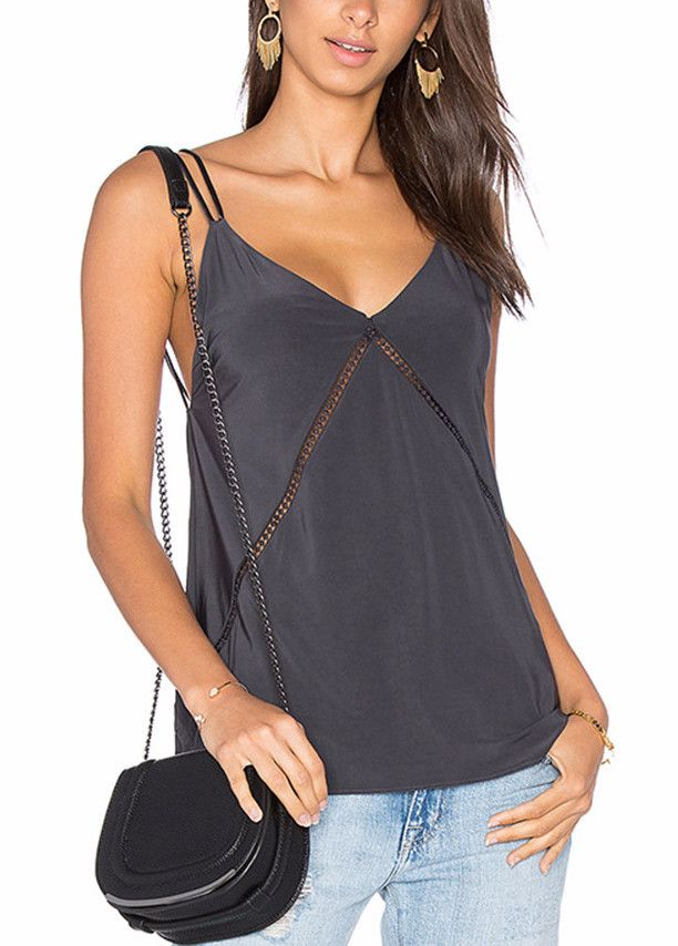Material: Cotton, Polyester, Satin Decoration: Cutout Out Clothing Length: Regular Tops Type: Camisole, Tank, Tanktop, Top, Tops Pattern Type: Solid Item Type: Tops Gender: Women Size: S M L XL XXL Co