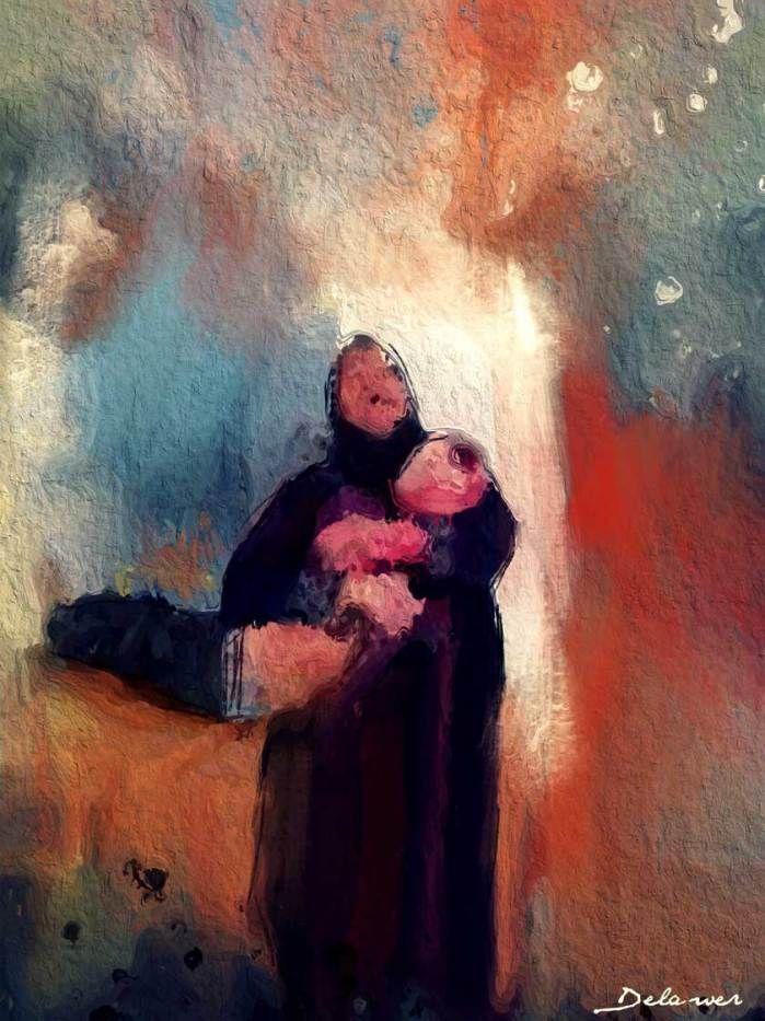 """لوحة بعنوان """"أم من سوريا"""" - ١٠ لوحات زيتية ترسم معاناة الشعب السوري لديلاور عُمر"""
