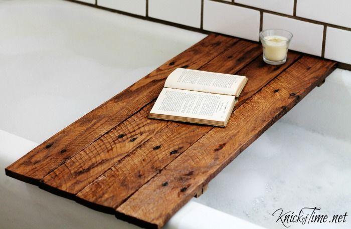 DIY Pallet Wood Bathtub Table tutorial at KnickofTime.net