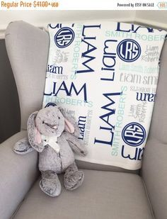15% off Personalized Baby Blanket Monogram by TheLittleArrows
