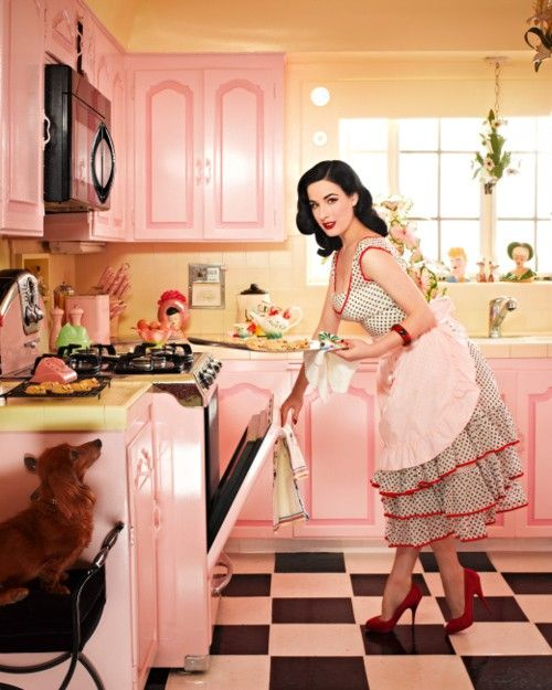 Dita von teese in the kitchen. 1950's. http://www.royaldressedladies.com/blog/122101-styling-whore-massage-her-wet-pussy-part-3.html