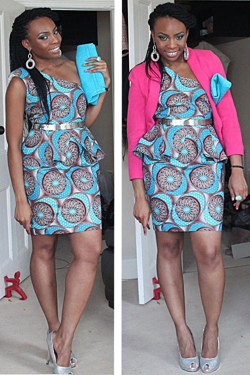 African fashion Bright pink blazer over asymmetrical dress