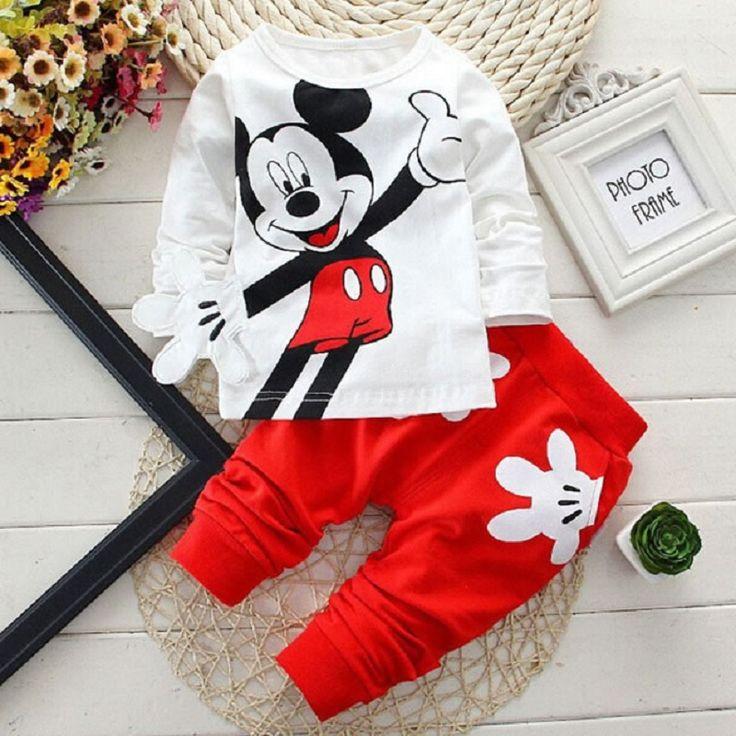 Mickey de los Bebés de Los Muchachos Que Arropan Minnie Mouse Dibujos Animados Para Niños de Impresión Camisetas + Pantalones de Deporte Chándales Vetement Enfant Fille en Sistemas de la ropa de La madre y Los Niños en AliExpress.com | Alibaba Group