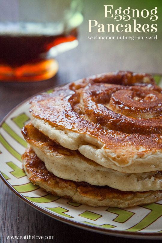 Eggnog Pancakes with Cinnamon Nutmeg Rum Swirl. Recipe and Photo by ...