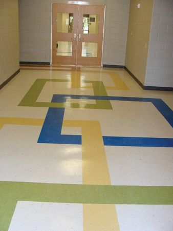 hallway with accent colors from classrooms - Vct Pattern Ideas