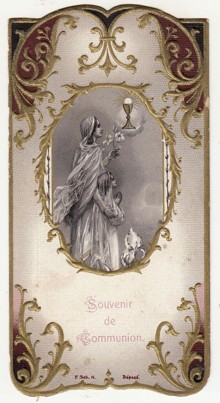 Antique French Holy prayer card First communion souvenir. Circa 1921. Size : 6 x 11 cm LINK to convert in inches You received exactly the old card of this photo! About Holy cards All our holy cards are antique or vintage. They are stamped usually on paper or hand made painted Every card is like a miniature picture, see all details!