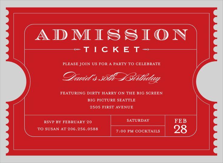 25+ ide terbaik Admission ticket di Pinterest - movie ticket template