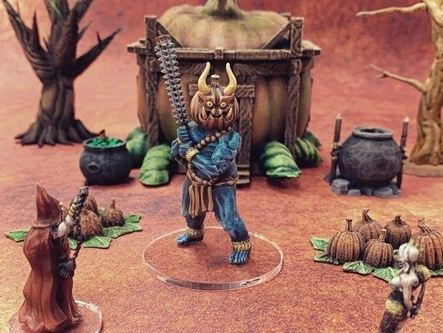 Pumpkin Onni 28mm Resin Miniature Halloween Creature Fantasy Tabletop Wargaming Rpg Warhammer D D Terrain Halloween Creatures Dnd Miniatures Miniatures