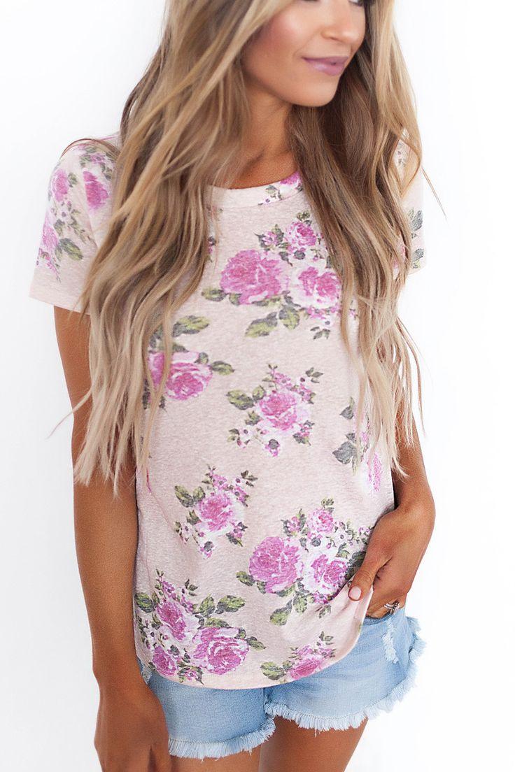 Floral Burnout Tee- Pink/Purple - Dottie Couture Boutique