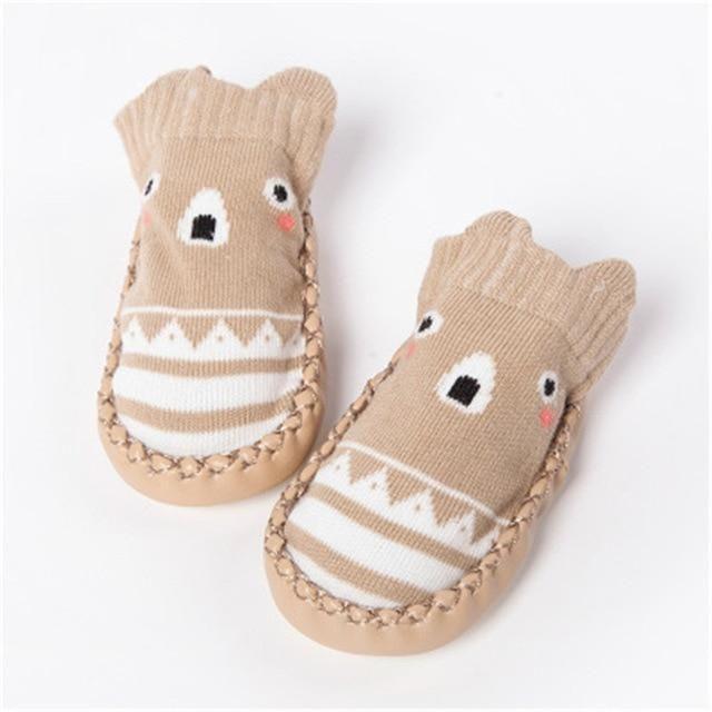 Baby Cartoon Slipper Shoes Boots Rubber Bottom Non-slip Socks Infant Fall Winter