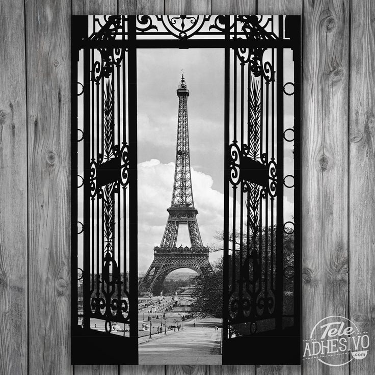vinilos decorativos pster adhesivo puerta y torre eiffel poster pared paris
