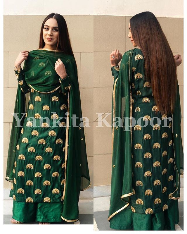 How Gorgeous She Looks In Our Bottle Green Silk Kurta Set Designisinthedetails Weddingdres Silk Kurti Designs Kurti Designs Party Wear Simple Indian Suits