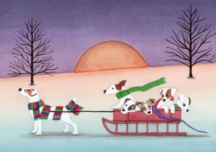 Jack Russell terrier (JRT) family taking a sled ride / Lynch signed folk art print by watercolorqueen on Etsy