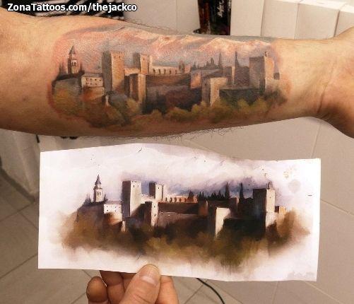 Tatuaje de la impresionante Alhambra de Granada hecho por Jack, de Granada (España). Si quieres ponerte en contacto con él para un tatuaje visita su perfil: http://www.zonatattoos.com/thejackco  #tattoos #tatuajes #ink #Granada