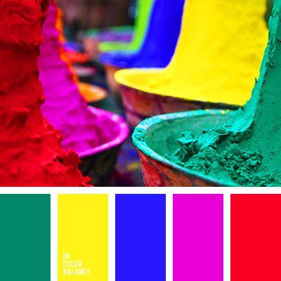 Цветовая палитра: жёлтый и красный, зелёный и сиреневый, красный и синий.