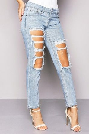 Blue Low Rise Ripped Mom Jeans