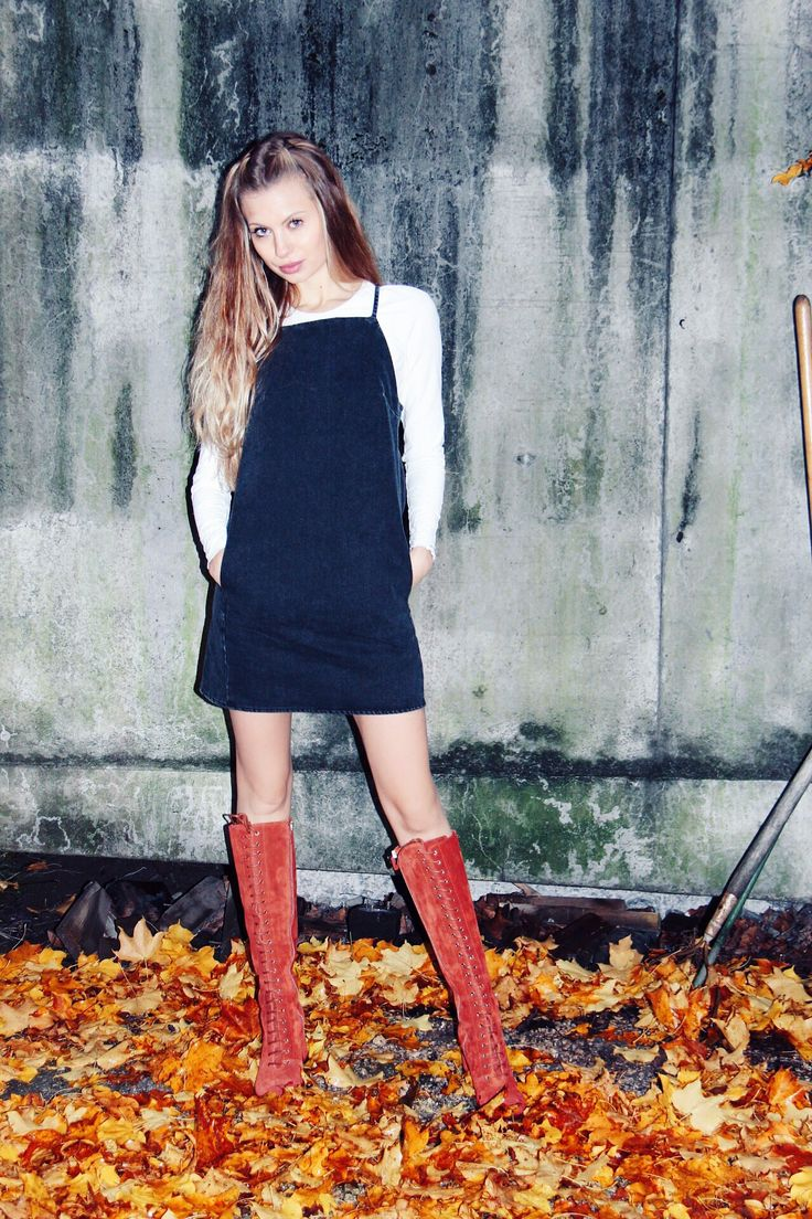 Shop the look: Dress - Topshop Shirt - ASOS (similar) Boots - Red Valentino( street stle ideas, autumn, cold, boots