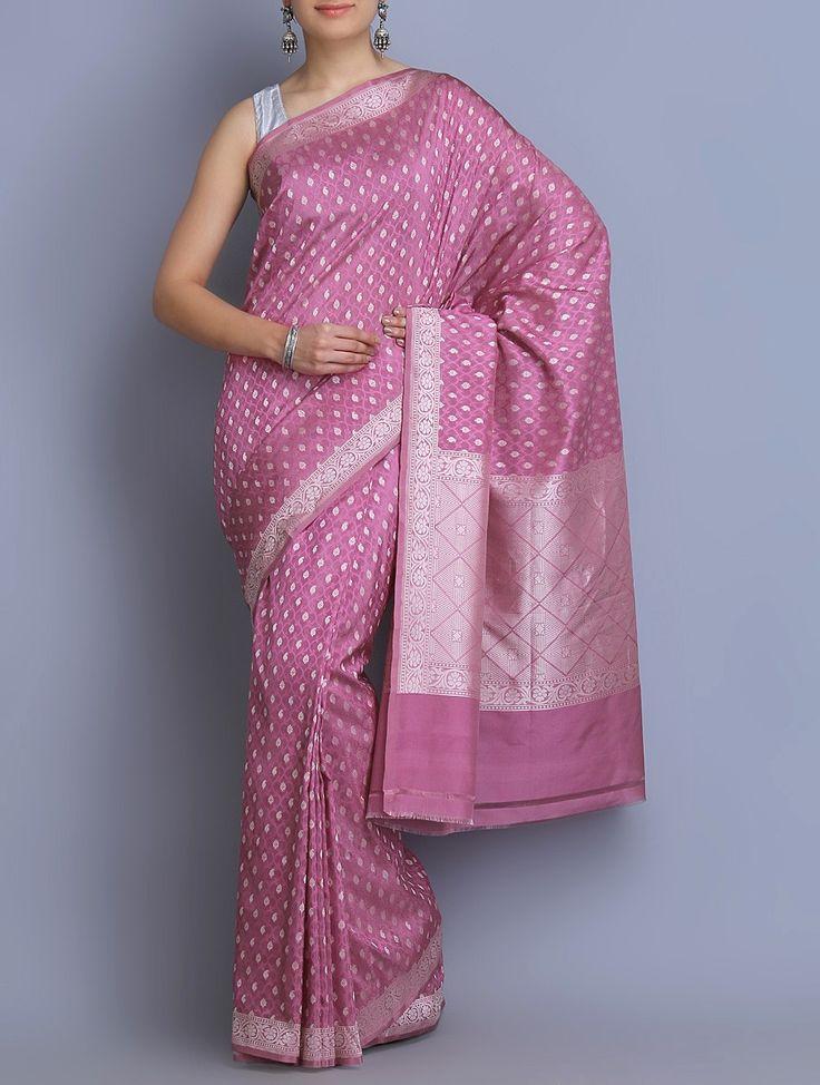 Buy Pink Benarasi Handwoven Silk Georgette Saree Sarees Woven Online at Jaypore.com