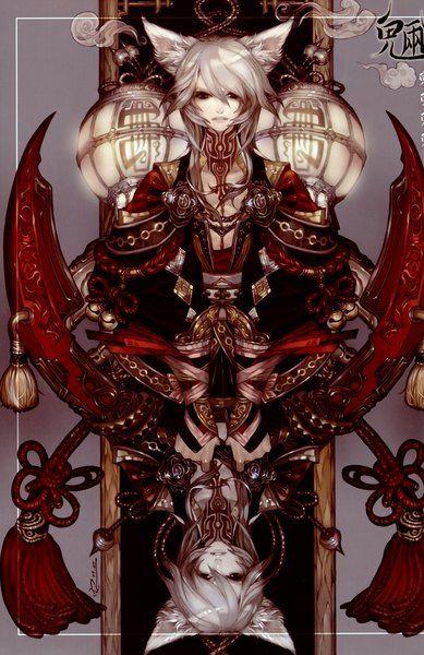 Аниме картинка 2266x3493 с  оригинальное изображение an jeongwon (artist) высокое изображение короткие волосы высокое разрешение красные глаза уши животного серые волосы татуировка вверх ногами мужчина лампа верёвка