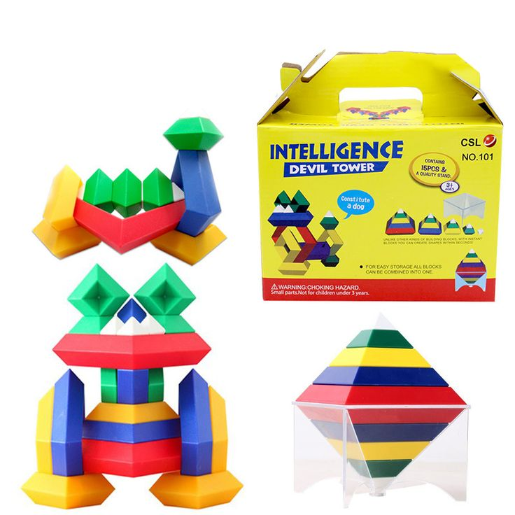 15pcs/set Geometric Building Blocks Magic Tower Pyramid Cube Assembly Model Plastic 3D Construction Toys Educational Toys