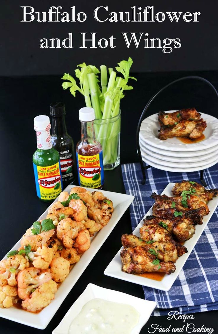 Buffalo Cauliflower and Hot Wings made with El Yucateco habanero hot sauce - a great grilled appetizer for your next summer party! #KingofFlavor