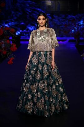 Sangeet Lehengas - Grey and Teal Lehenga | WedMeGood Metallic Grey Crop Top and Dark Teal Heavy Flared Lehenga with Silver Scattered Motifs #wedmegood #teal #lehengas #metallic