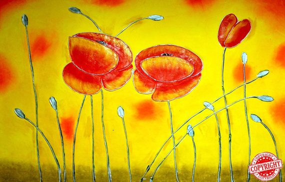 Red flower-Original Oil Painting on Canvas,Large Painting,Palette Knife,Yellow Painting,Red Flower,Extra Large Wall Art,Modern painting