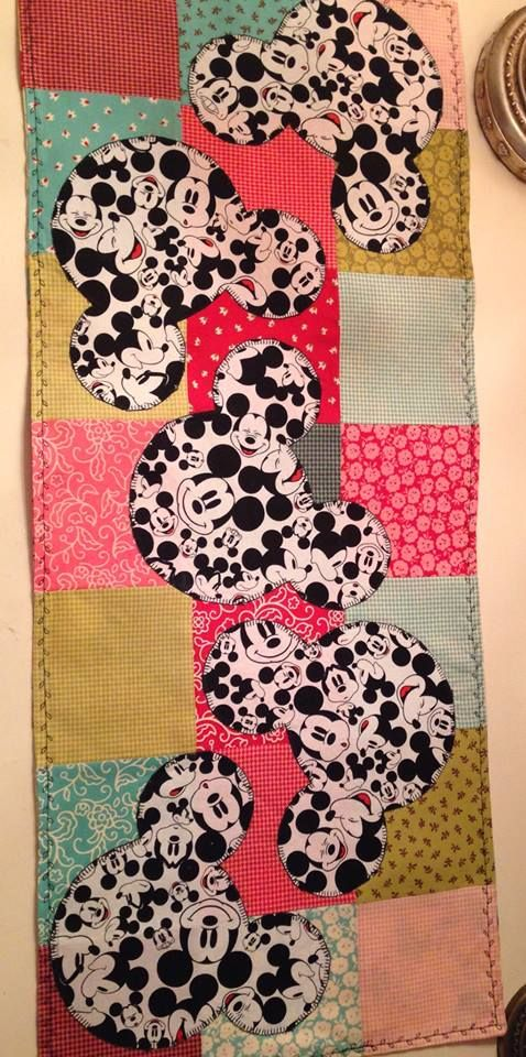 Mickey Mouse table runner. Something I designed and made on 7/25/15 for my home. I just loved the Mickey fabric I found at JoAnn's!!