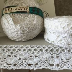 Hyllbård - 4 meter hyllremsa knypplad white 4 cm