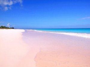 Pink Sands Beach, Harbor Island, Bahamas. Papakolea Beach, Hawaii. Genipabu Beach, Natal, Brazil.